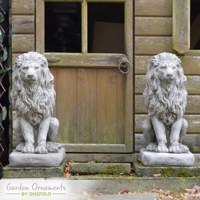 Marvelous Large Lion Pair Cast Stone Garden Ornament Statue Patio Home Decor Onefold Uk Interior Design Ideas Truasarkarijobsexamcom