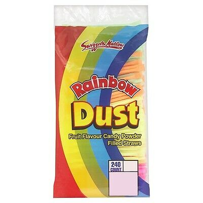 50 Rainbow Dust Fruit Flavour Candy Powder Filled Straws - Swizzels Matlow Brand