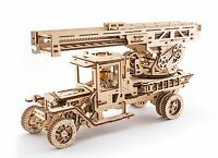 Ugears Fire Truck With Ladder Mechanical Wooden Model Kit 3d Puzzle Assembly