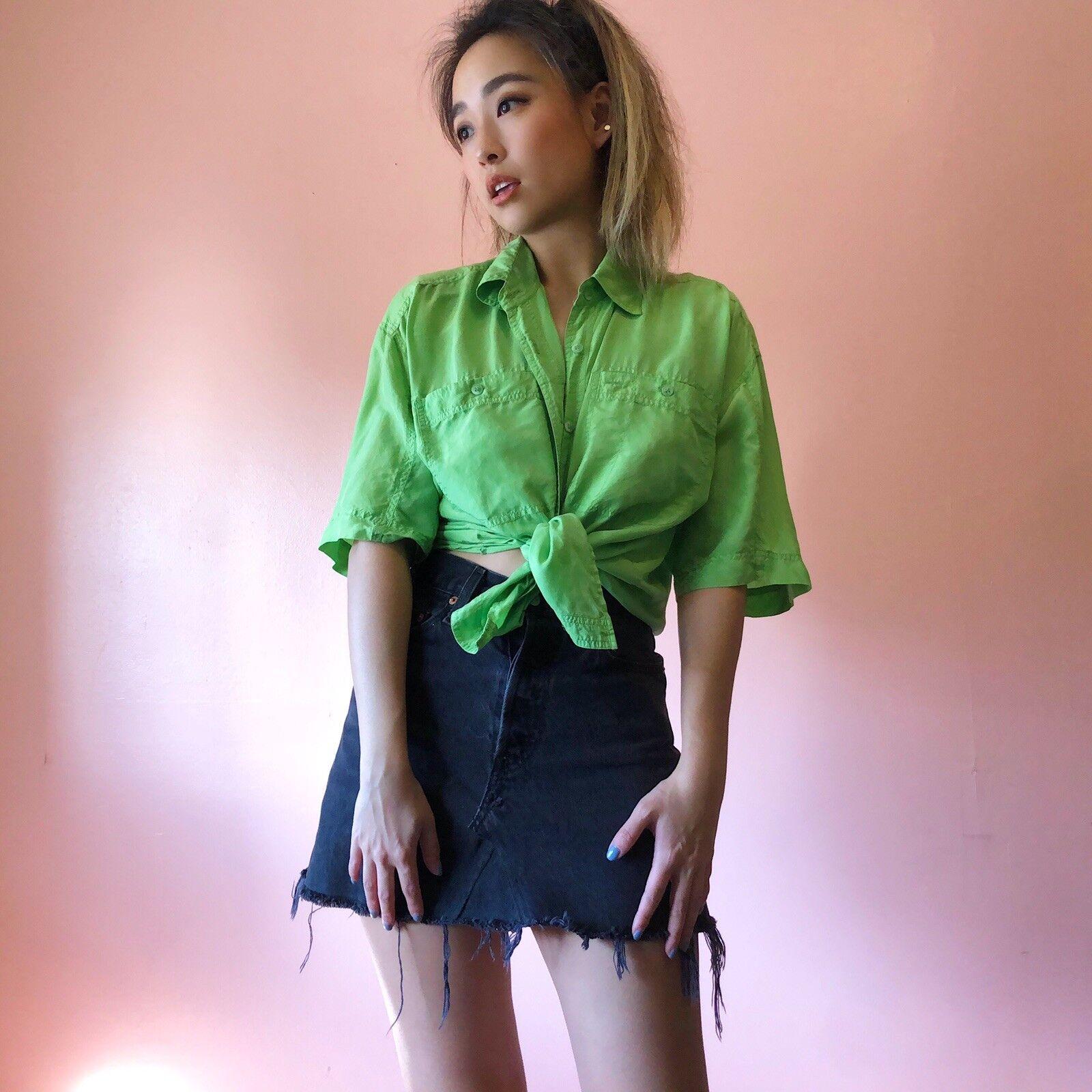 Vintage Lime Green 100% Silk Blouse