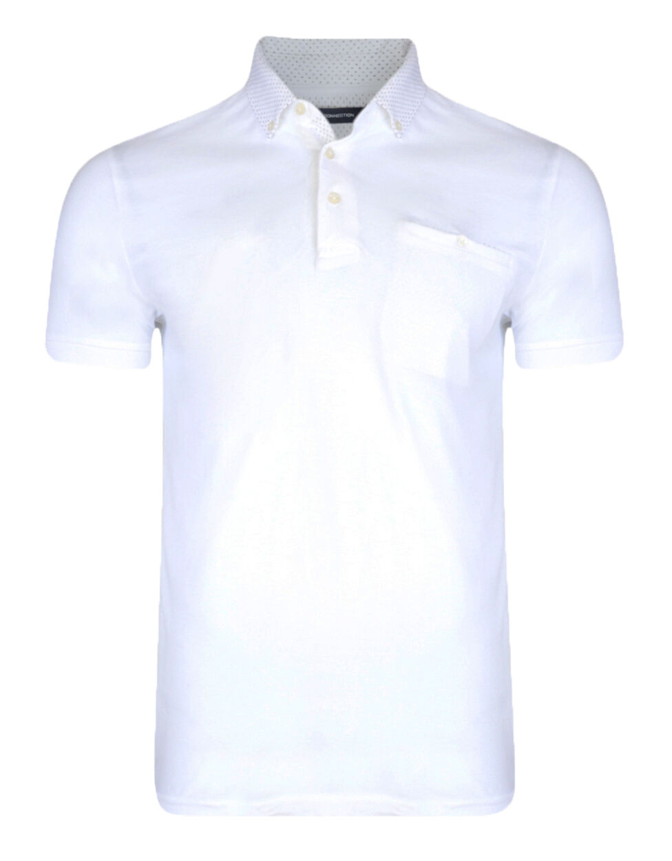 French Connection Men's Slim Fit Cotton Polo Shirt White Dott Collar Jersey Top