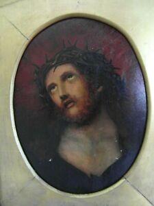 Antique religious 19th century oil painting of Christ-afficher le titre d`origine
