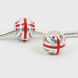 3-Beads-British-Flag-Enamel-Silver-European-Charm-Bead-E0109
