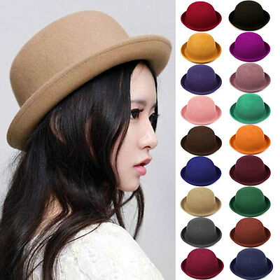 Women Derby Bowler Hat Vintage Wool Trendy Ladies Wool Bowler Felt Cloche Cap
