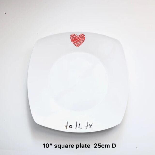 "4pc 10"" 8"" Square Dinner/Dessert Plates Heart Print Quality New Bone China"
