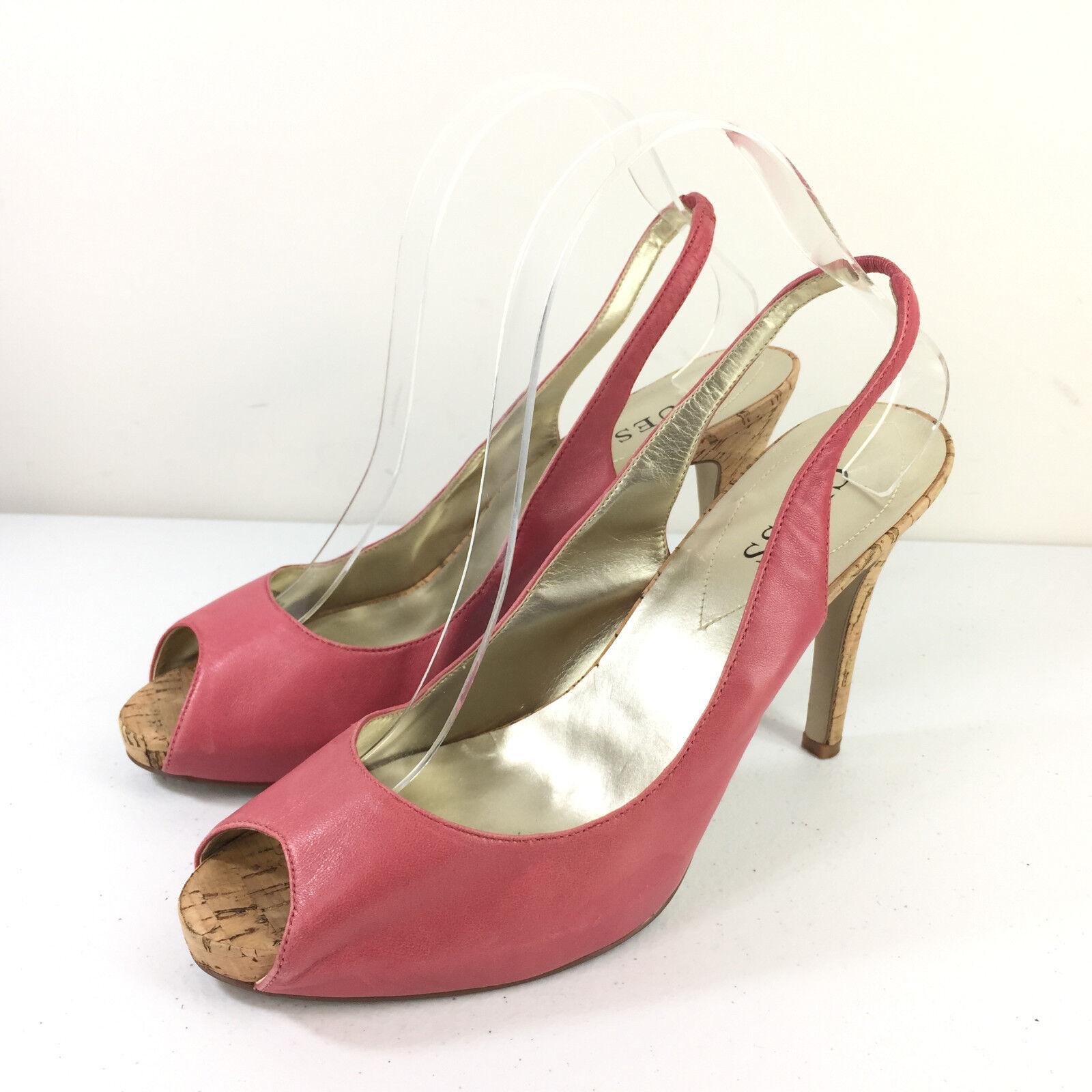 Guess Pink Slingback 9.5 Heels peep Toe Leather Career Cocktail EUC