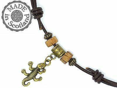 BROWN LEATHER SURFER BEADED TRIBAL COCO CHOKER NECKLACE & GECKO LIZARD PENDANT