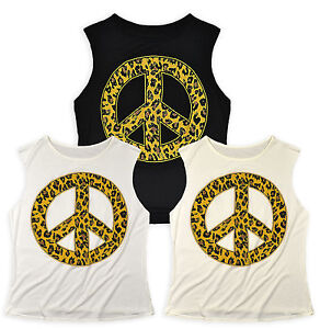 Ladies-Animal-Print-Peace-Sign-Vest-Top-New-Womens-Sleeveless-T-shirt-Size-8-14