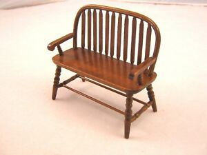 Surprising Details About Bench Colonial Windsor T6845 Miniature Wooden Dollhouse Furniture 1 12 Scale Short Links Chair Design For Home Short Linksinfo