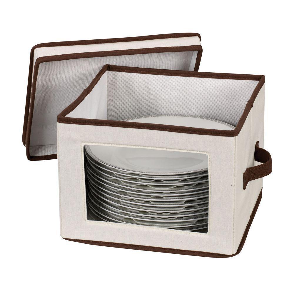 Dinner Plate Organizer Chest Canvas Home Kitchen Dining Dinnerware Storage Box