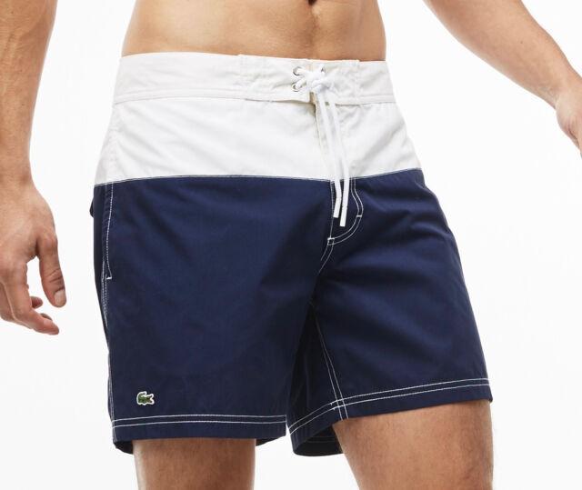 12fd5f6141 Lacoste Mens Colorblock Taffeta Board Shorts Mh7093 White/navy Size ...