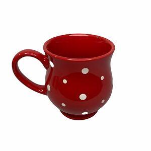 Temptations By Tara Red Polka Dot 16 oz Mug Cup Stoneware Ovenware w/ Gift Box