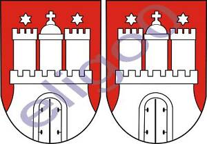 2x-hamburg-GERMANY-coat-of-arms-bumper-stickers-decals