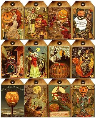 12 HALLOWEEN - WITCH PUMPKIN VINTAGE 155 LB PAPER CRAFT CARD SCRAPBOOK TAG L