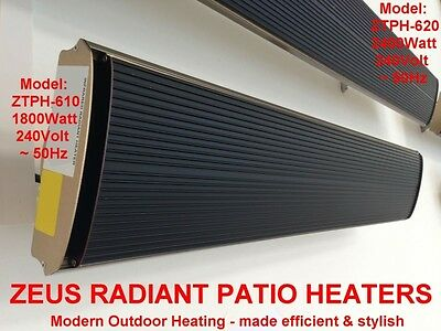 1800W RADIANT PATIO HEATER SLIMLINE OUTDOOR STRIP HEATERS ELECTRIC PANEL HEATING