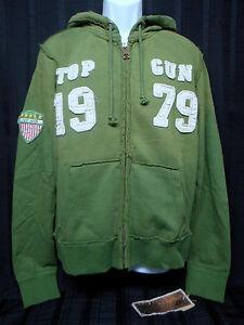 TOP-GUN-Men-039-s-Zip-Up-Military-Patched-Hoodie-Jacket-Green-Size-L