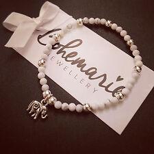 White howlite mini elephant charm bracelet gemstone bijoux jewellery boho gypsy