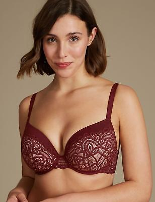M/&S Collection Push Up Plunge T-Shirt Bra 30-34-32-DD-D *ALL COLOURS*