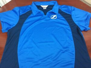 c3e49ef2 Details about Tampa Bay Lightning Blue W Black Mesh WOMENS Polo Shirt  Embroidered Polyester