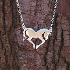 """Sterling Silver 925 Horse Pendant 16"""" Chain Necklace Sea Gems Pony Lovers Gift"""