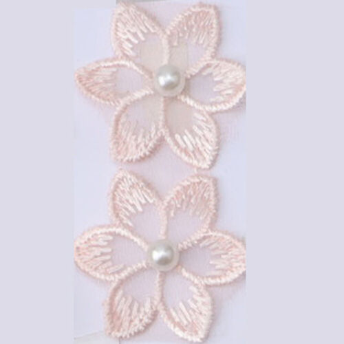 1 Yard Pearl Flower Trim Lace Embroidered Ribbon Wedding Dress Clothing Sewing
