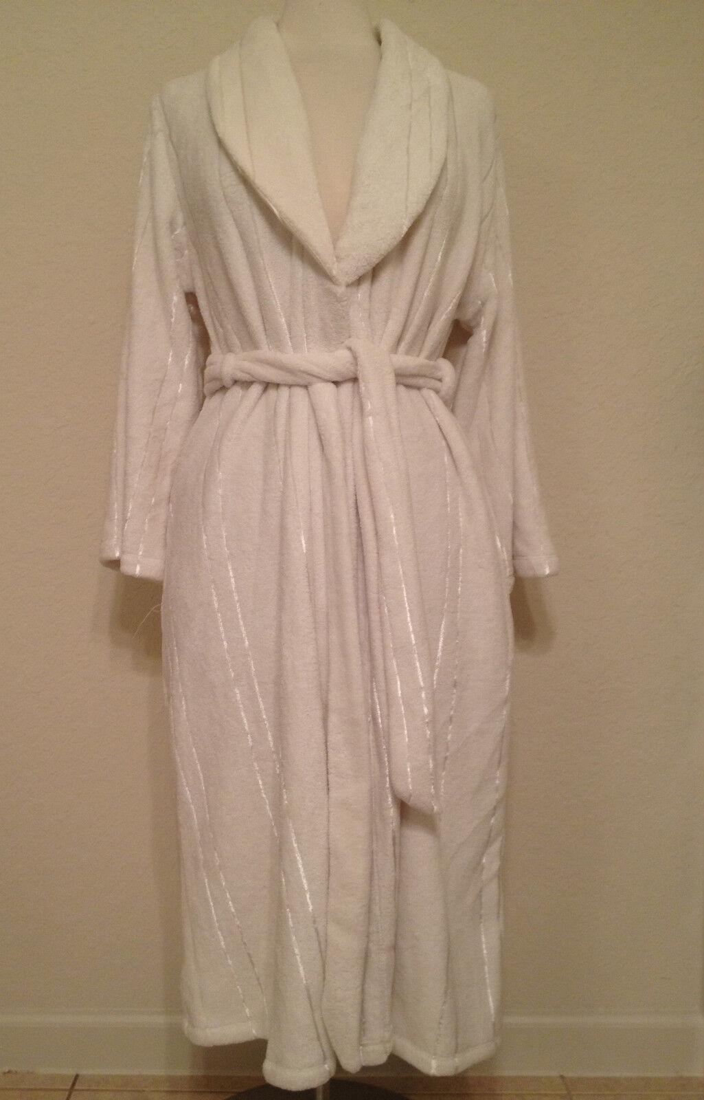 NEW Jones New York Terry Jacquard Satin Stripe Plush Robe 3J182R S M L XL