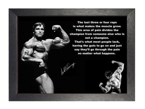 Arnold Schwarzenegger Motivation Zitat Poster Sport Actor Foto Schwarz Weiß