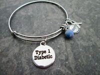Type 1 Diabetic Medical Alert Bangle Bracelet With Stainless Steel Bangle