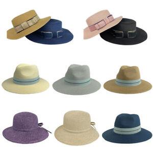 63e4e5cdd Details about Women Floppy Fedora Straw Hat Wide Brim Cap Summer Beach Sun  Hat Trilby With Bow