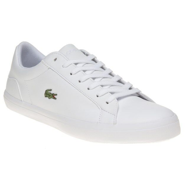New Leder Mens Lacoste WEISS Lerond Leder New Trainers Lace Up 6339bb
