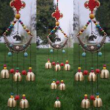 Hanging Pendant Elephant Chinese Knot 6 Bells Wind Chimes Garden Windbells