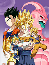 Poster A3 Dragon Ball Gohan Goku Vegeta Super Saiyan Bubu