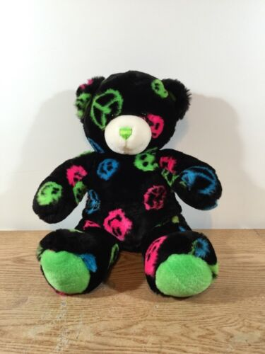 Build a Bear Black W/Multi-Color Peace Signs 15 Plush