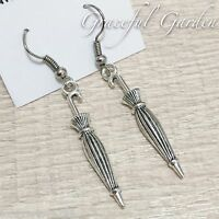 ER2585 Graceful Garden Vintage Style Antique Silver Tone Umbrella Charm Earrings