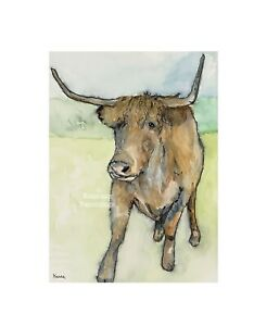 Cow-In-A-Field-Watercolour-Painting-By-Kenna-A5-Unframed-Original