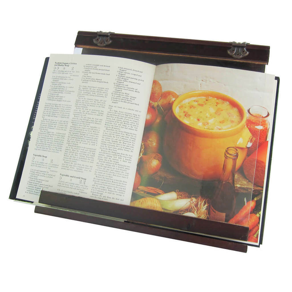 Cookbook Holder - Wooden - Acrylic Splatter Guard - 4 viewing angles