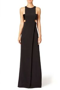 NWT-KAUFMANFRANCO-Black-Silk-Onyx-Liquid-Bugle-Gown-Size-12-3995