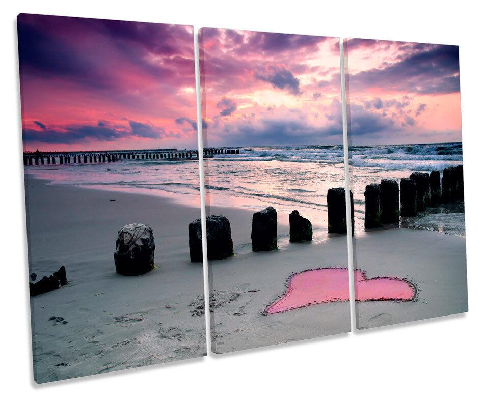 Beach Heart Sand Sunset TREBLE CANVAS WALL ART Box Framed Print