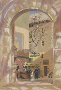 Gaynor-Elizabeth-Bury-1889-1975-1928-Gouache-Urban-Street-Scene