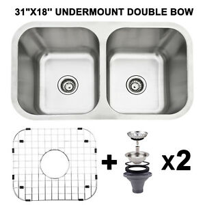 Astonishing Details About 31X18 Double Bowl 16 Gauge Stainless Steel 9 Deep Kitchen Sink Undermount Home Interior And Landscaping Eliaenasavecom