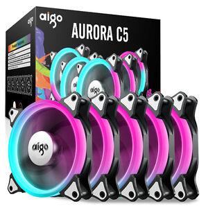 Aigo-12cm-Aurora-RGB-Fans-5-PCS-set-with-controller-C5