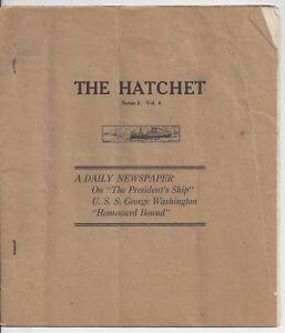 The Hatchet Newspaper 1919 U.S.S. George Washington WWI Woodrow Wilson