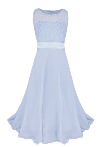 Chiffon Flower Girl Dress Lace Top Party Wedding Prom Formal Gown Long Dresses