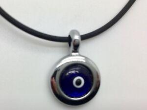 Evil-Eye-Mati-Nazar-Choker-Necklace-Rubber-Silver-Pendant-Charm-Black-Leather
