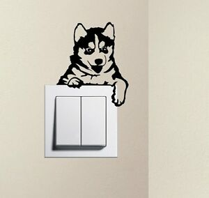 bec4d8098a Designer Cute Puppy Dog Husky Baby Pet Light Switch Decal Funny Wall ...