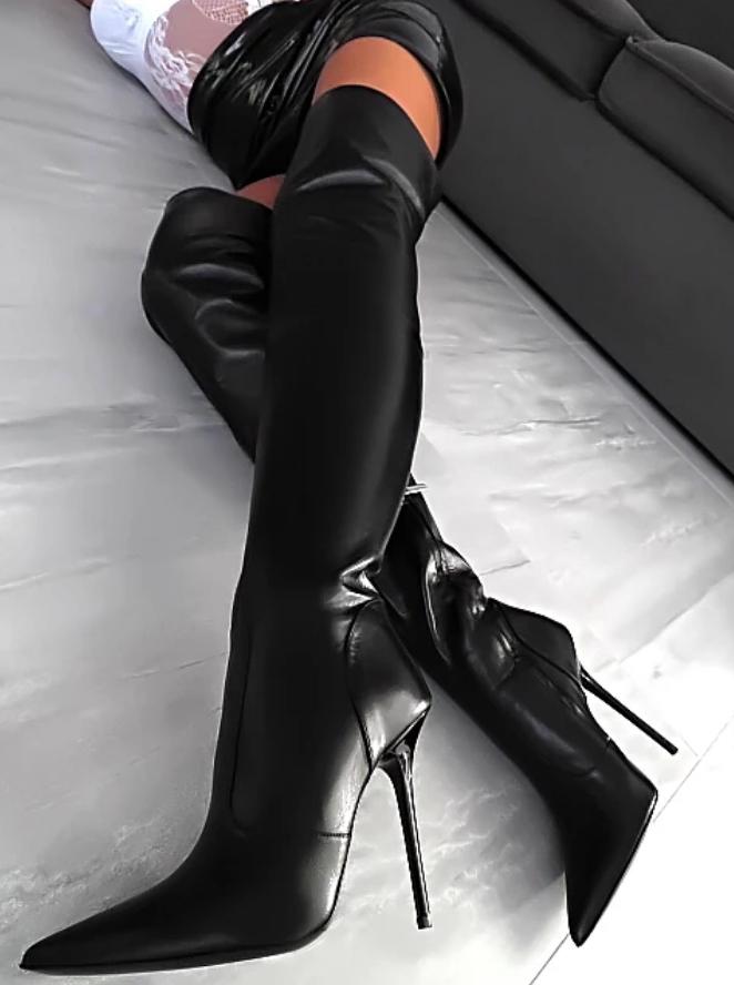 2019 Nya kvinnor Knee höga stövlar Pointy Toe Nightclub Party Party Party hög klack skor Uk Sz  märken online billig försäljning