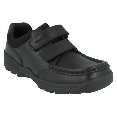 Boys Clarks Zayden Go Black Leather Double Strap Smart School Shoes