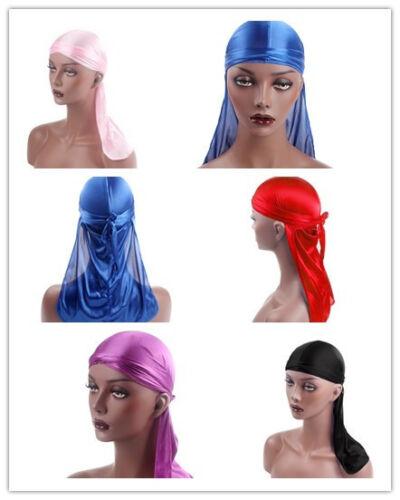 Durag Headwear Headband Pirate Cap Women Hat Smooth Nylon Cap Solid Color