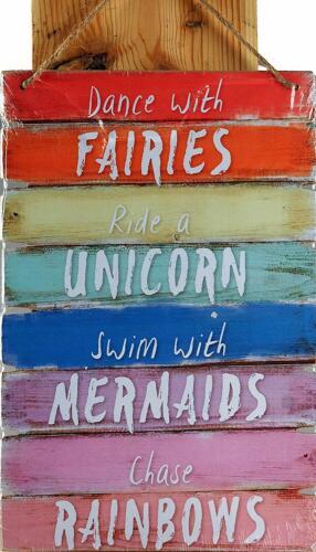 Fairy Unicorn Mermaid Rainbow  Home Decor Dance With Fairies Plaque Sign