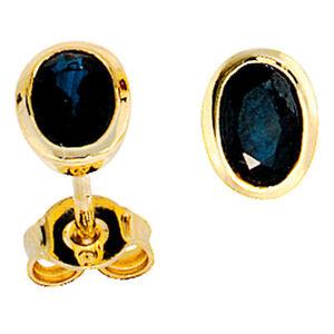 Damen-Ohrstecker-oval-585-Gold-Gelbgold-2-Saphire-blau-Ohrringe-Goldohrstecker